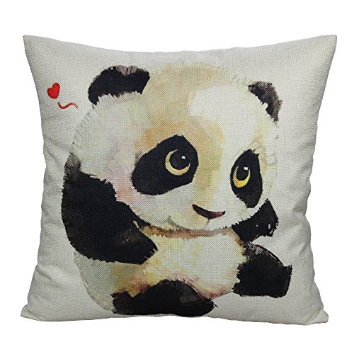 All Smiles Love Heart Panda Throw Pillow Case Cushion Cover 18 x18 Cotton Linen for Patio Couch Sofa