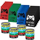 48 Pieces Video Game Party Favors Set Include 24 Pieces Video Game Bracelets Wristbands and 24 Pieces Gamer Party Bags for Game Birthday Party Supplies