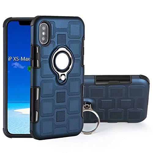 Armor - Funda de protección 2 en 1 de doble capa con soporte de anillo giratorio para el dedo, soporte magnético para coche, compatible con iPhone Xs Max (6,5 pulgadas) (color azul marino)