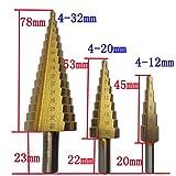 TLF-FF Acero poco grande Paso Taladro Cono 3pcs / Set, 4-12/20/32 mm de titanio recubierto de metal Broca sistema de herramienta de corte Broca