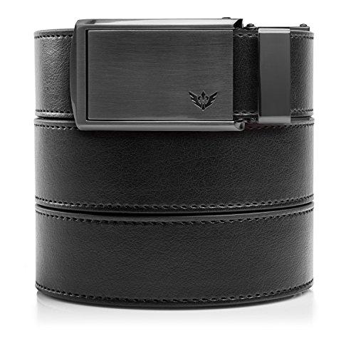 SlideBelts Men's Golf Ratchet Belt - Custom Fit - Black with Winged Gunmetal Buckle (Vegan)