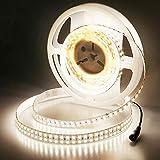 JOYLIT 24V Tiras LED Blanco Natural 4000K, 5M UL CE Listado CRI 90+ 120W Súper Brillantes 11200LM Doble Fila SMD2835 1200 LEDs IP20 No Impermeable Luces LED para gabinete, armario y más