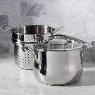 Cuisinart 6-Qt. 3-pc Pasta Pot with Strainer + Reviews | Crate and Barrel