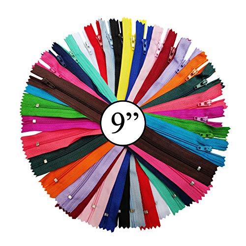 KGS Nylon Fermeture éclair   Zippers pour l'artisanat de Couture   9 Pouces / 23 cm   Couleurs mélangées   40 pcs