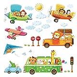DECOWALL DA-18062P1506B Transportes de Animales 3 Biplanos de Animales Vinilo Pegatinas Decorativas Adhesiva Pared Dormitorio Salón Guardería Habitación Infantiles Niños Bebés