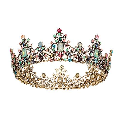 SWEETV Schmuck Barocke Königin Krone - Strass Hochzeit Kronen und Diademe für Frauen, Kostümparty Haarschmuck mit Edelsteinen
