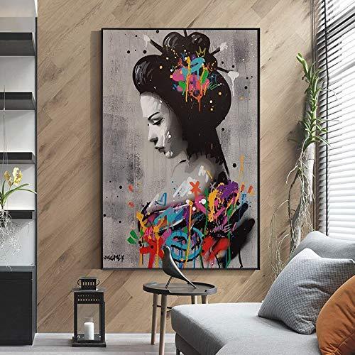 wZUN Retrato de Mujer Japonesa Pintura en Lienzo Graffiti Arte de Pared Carteles e Impresiones Sala de Estar Arte Decorativo de Pared 60X90 Sin Marco