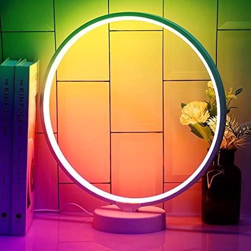 Vogvigo Lámpara de noche LED, 6 colores y cambio de color con control remoto Lámpara de mesa LED en forma de círculo, luz blanca cálida ajustable, para dormitorio, sala de estar, oficina