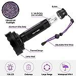 YOUTHINK UV Torch, 128 LED UV Flashlight with UV Protection Glasses, 395nm Upgraded 128 LED Flashlight Black Light Ultraviolet Lamp, Dog Cat Urine Detector, for Carpet/Floor 13