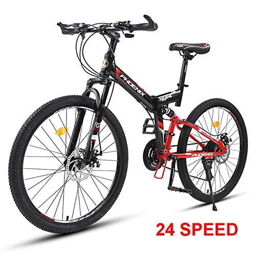 NYANGLI Faltbare Trekking Fahrrad Cross Trekkingräder,Variable Speed Fahrrad, 26 Zoll MTB Erwachsener Land Gearshift Stahl-Rahmen Fahrrad,Hardtail Mountainbike,Rot,26inch/24speed