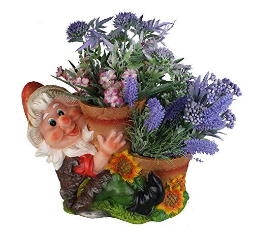 Design Zwerg mit 2 Blumentopf NF16022 XL 26 cm Hoch Deko Garten Gartenzwerg Figuren DekorationDesign