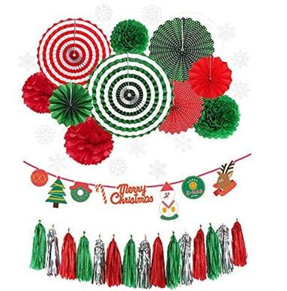 LUCKKYY Christmas Decoration Kit,Paper Fan Party Decorations Kit DIY Ceiling Hanging Paper Fans,Merry Christmas Banting Banner,Christmas Tassel Garland