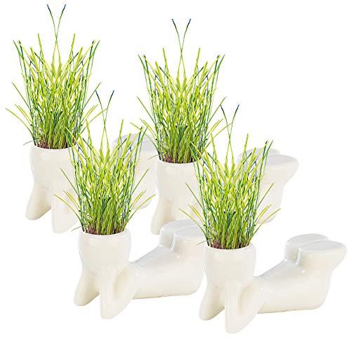 infactory Blumenvase: 4er-Set Grasmännchen liegend (Kleine Blumentöpfe-Männchen)