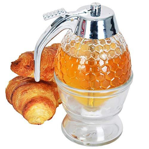 GTEFWZ Distributeur De Miel - Pot De Miel en Forme De Peigne De Miel - Jar Miel avec Support, Support De Stockage en Plastique Outil De Cuisson