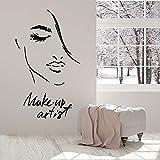 HFDHFH Artista de Maquillaje Tatuajes de Pared Cara de niña de Moda Vinilo Abstracto Pegatinas de Ventana Estudio de cosméticos salón de Belleza decoración de Interiores Mural