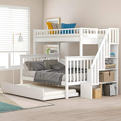 Best Bargain Twin Over Full Stairway Bunk Bed with Trundle (White)