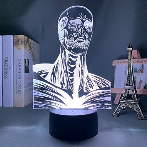 Lámpara de ilusión 3D Anime LED Light Attack sobre Titan Colossus Titan para dormitorio, decoración nocturna infantil, regalo de cumpleaños, manga Shingeki No Kyojin, lámpara 3D HYKK