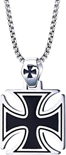 wisecity Mens Vintage Jewelry High Polished Titanium Stainless Steel Knights Templar Crusader Cross Pendant Necklace for Men Titanium Steel Jewelry