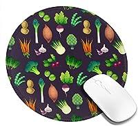 緑の野菜のマウスパッド、デスクトップ、コンピューター、PC、ラップトップ用のスリップ防止天然ゴムマウスマット、家庭/オフィスでの作業およびゲーム用20cm