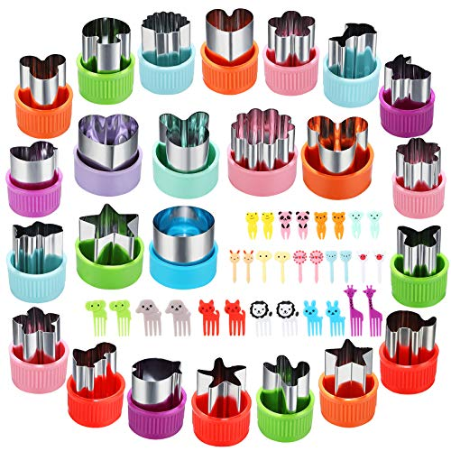 Vegetable Cutter Shapes Set, 24pcs, Mini Cookie Cutters Set Fruit Cookie Pastry Stamps Mold with 30pcs Food Picks and Forks -for Kids Baking and Food Supplement Accessories