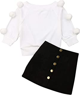 LXXIASHI Toddler Baby Girl Long Sleeves Hairball Knit Sweater Top + Metal Button Front Decorated A-Line Skirt Outfits Set