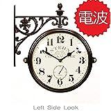 両面電波時計 両面時計 Interior Double Face Wall Clock おしゃれな インテリア 両面壁掛け時計 電波両面時計 M195 Br-AN(A)