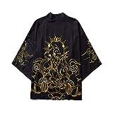 Kimono Cárdigan Hombre Abrigos Japones Estilo Yukata, Capa De Kimono con Estampado De Zorro/Camisa Holgada Sin Botones De Moda para Hombres Y Mujeres,Black-Xxlarge