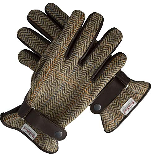 Walker & Hawkes - Herren Handschuhe - aus schottischem Harris-Tweed & Leder - Overcheck-Tartanmuster...