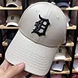 sdssup Gorra de béisbol Gorra Masculina Pareja Femenina Tigres de Detroit Etiqueta de Plata Sombrero de Pato Negro Lengua de Color Caqui Sombrero Negro Pato Lateral Ajustable