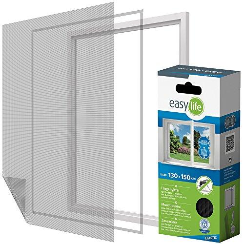 Elastic Insektenschutzgitter für Fenster inkl. Klettband 130 x 150 cm anthrazit