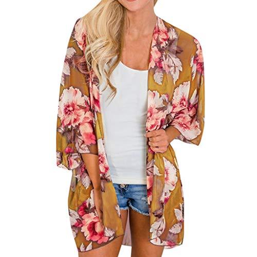 Kimono de Verano, Dragon868 Las Mujeres de la Gasa Floral de la Playa Floja Chal Verano Kimono Cardigans (S, Armada)