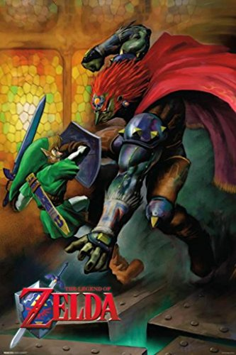 Pyramid America The Legend of Zelda Ocarina of Time Link Vs Ganondorf Nintendo Fantasy Video Game Cool Wall Decor Art Print Poster 24x36