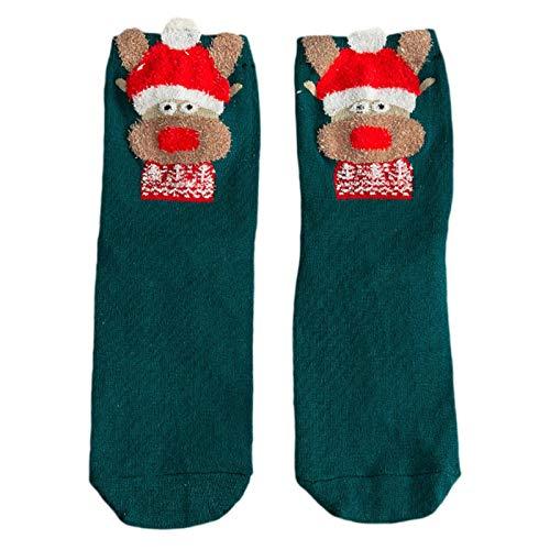 XIANGBEI Women Christmas 3D Cartoon Animal Crew Socks Kawaii New Year Mid-Calf Hosiery Crazy Novelty Funky Socks for Women, Fancy Casual, Winter Socks with Unique Striking Design