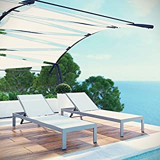 Modway Shore Outdoor Patio Chaise Outdoor Patio Aluminum Set of 2 in Silver White