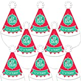 Big Dot of Happiness Elf Squad - Mini Cone Kids Elf Christmas and Birthday Party Hats - Small Little Party Hats - Set of 8