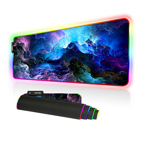 Alfombrilla de ratón RGB para juegos grande, de gran tamaño, 10 modos de iluminación gruesa brillante LED extendida, base de goma antideslizante para teclado de ordenador (80 x 30 RGBqicaiyun)