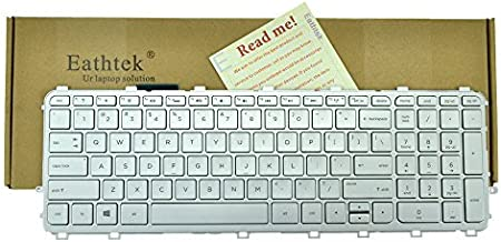 Eathtek Replacement Keyboard with Backlit and Silver Frame Silver Key for HP Envy Touchsmart 15-J 15T-J 17-J 17T-J 15-J000 17-J000 17-j060us 17-j070ca 17-j073ca 17-j083ca Series Silver US Layout