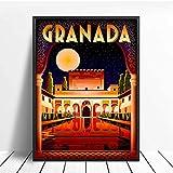 Alhambra Granada España Viajes Cartel E Impresión Digital Wall Art Canvas Painting Vintage Pictures Home Decor 50 × 70Cm Sin Marco