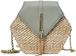 حقائب يد للنساء يدوية الصنع ذات تصميم سداسي متعددة الاشكال من القش والجلد