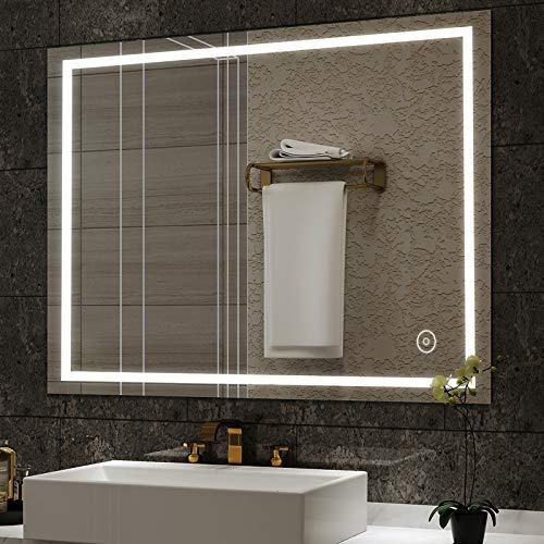 Badezimmerspiegel Dripex Wandspiegel LED Badspiegel mit Beleuchtung mit Touch-Schalter Beschlagfrei Kaltweiß 6400K Energiesparend Lichtspiegel 50x70 cm Beschlagfrei Kaltweiß 6400K Energiesparend