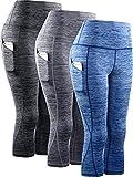 Neleus Women's 3 Pack Tummy Control High Waist Yoga Capri Leggings with Pockets,9034,Black,Grey,Blue,M,EU L