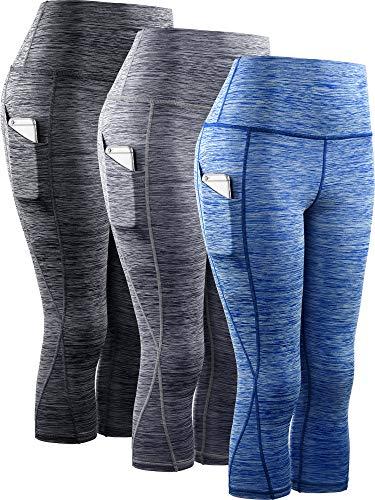 Neleus Women's 3 Pack Tummy Control High Waist Yoga Capri Leggings with...