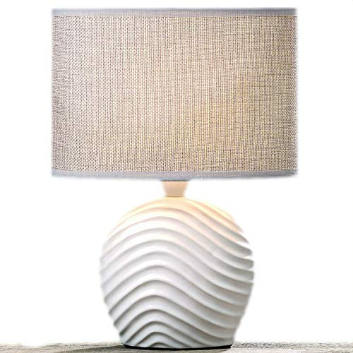 Tischleuchte Nachttischlampe Leseleuchte Tischlampe Lampe Welle Sylt Weiß Beige