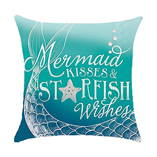 "GAWEKIQE Sea On Beach Time Mermaid Kisses Starfish Wishes Gift Holiday Cotton Linen Throw Pillow Cover Cushion Case Holiday Decorative 18""X18""Inch Gift Decorative Pillow (2)"