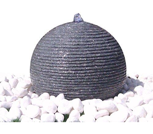 Dehner Gartenbrunnen Rondo mit LED Beleuchtung, Ø 42 cm, Höhe 29 cm, Granit, grau