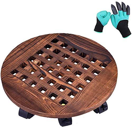 LEFOR·Z Pflanzenroller Holz Rollbrett für Pflanzen,30cm Topfpflanzenständer mit 360 ° Rädern,runder Blumenroller für Außenbereich + Innenbereich