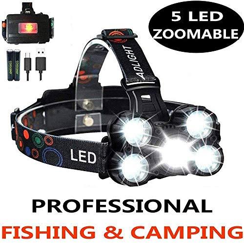 SHISOU Lampe Frontale Zoomable 10000 Lumens 4 Modes 5 LED Rotative Rechargeable Étanche pour La Pêche, Le Camping Et Le Bricolage, La Randonnée
