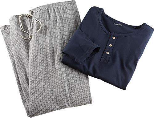 Golden Lutz - Herren Schlafanzug, 2-teilig, lang ++ Plus Size ++ (Navy grau Gemustert, Gr. XL - 56/58) | LIVERGY