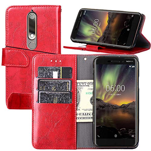 Nokia 6.1 Case,Nokia 6.1 Wallet Case,YEEGG Wallet Case for Nokia 6.1(2018)[Stand Feature] Protective PU Leather Flip Cover with Credit Cards Slot,Side Cash Pocket and Magnetic Clasp Closure (Red)