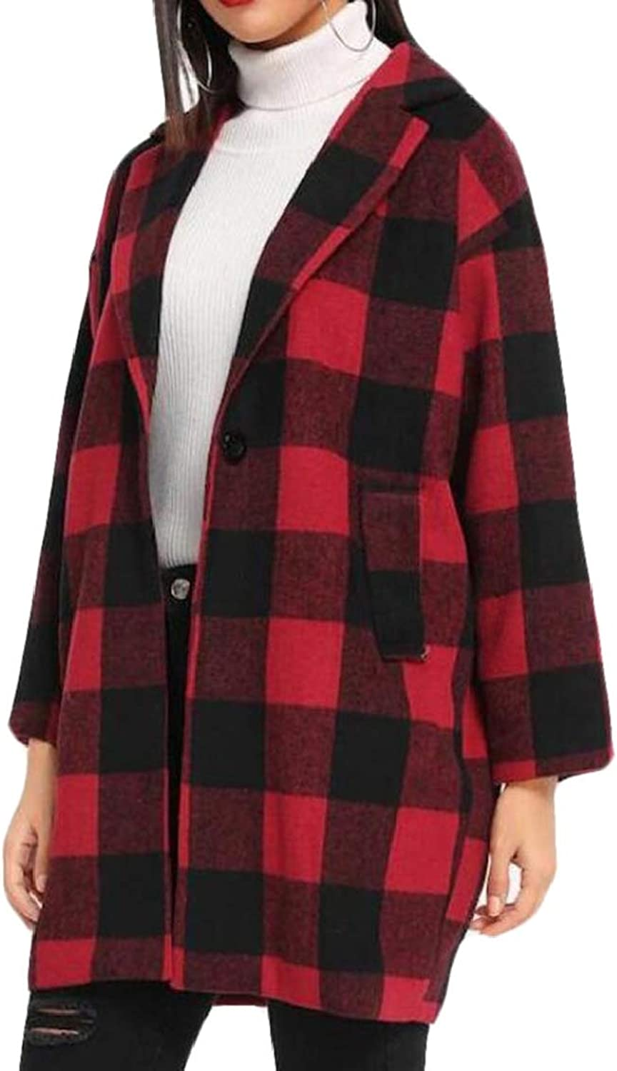 Spirio Womens Winter Warm Open Front Plaid Wool Blend Long Trench Coat Red M